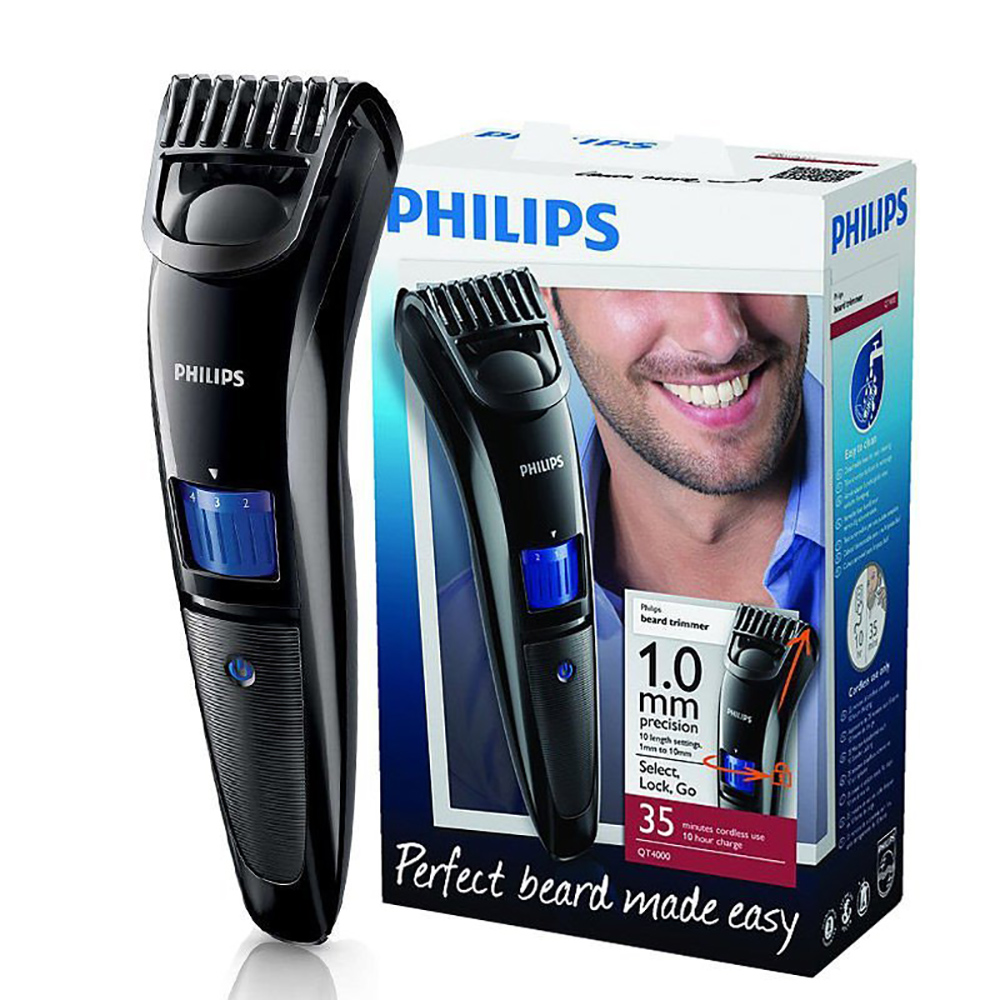 Philips beardtrimmer QT4000 multi-function trimmer razor accurate length set 1-10mm adjustable length curved combs black все цены