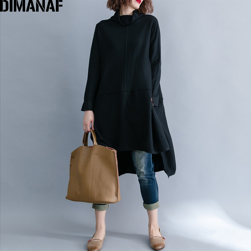 DIMANAF Women Pullover Sweatshirts Turtleneck Cotton Knitted Plus Size Female Clothes