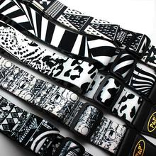 P&P Guitar Strap Adjustable Black White Printing Soft Guitarra Straps Thicken for Electric Acoustic Bass Belt 150cm