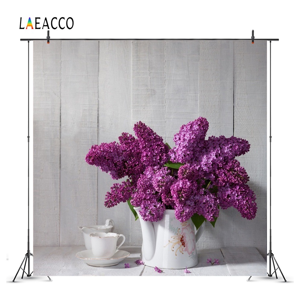 Laeacco Spring Flowers Vase Cups Wooden Board Photography Backgrounds Customized Photographic Backdrops For Photo Studio