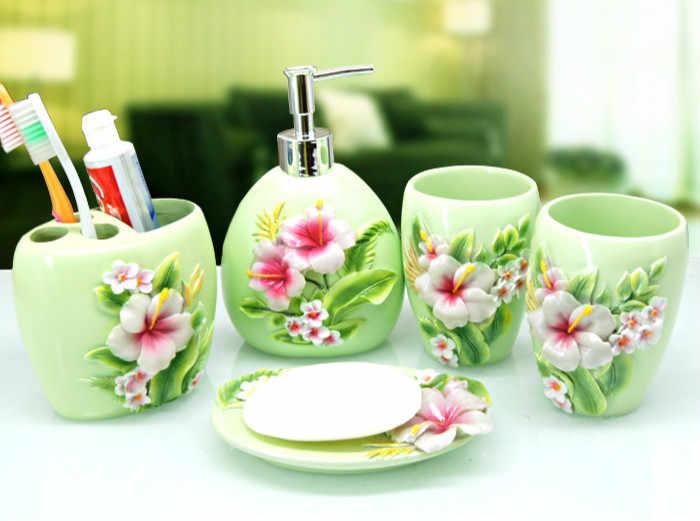 5 sztuk/zestaw styl duszpasterski dostaw łazienka mycia zestaw kreatywny akcesoria łazienkowe z żywicy zestaw prezent ślubny