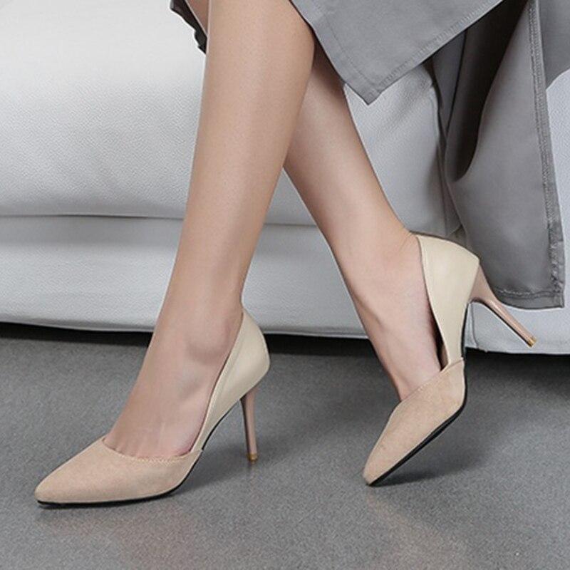 Alto Las Casuales Gran Cm Toe 2019 Mujeres 8 Zapatos Tamaño Almond Leopardo De Primavera Mujer en Bombas Señaló Talones black La Slip UqaWxE0a