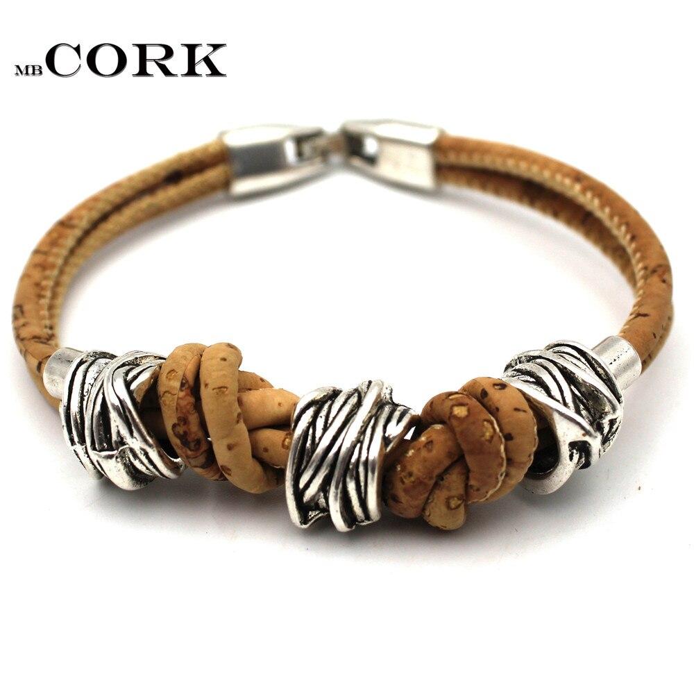 Natural cork bracelet irregular beads cork cord vegan fashion original handmade Portugal cork jewelry BR-220