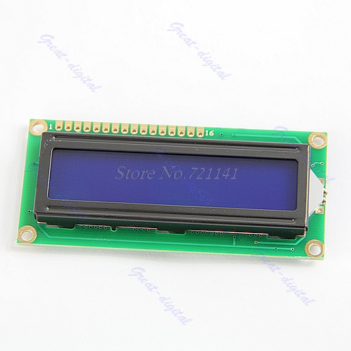 LCM 1602 <font><b>16x2</b></font> HD44780 Controller Blue Blacklight Character <font><b>LCD</b></font> <font><b>Module</b></font> <font><b>Display</b></font> image