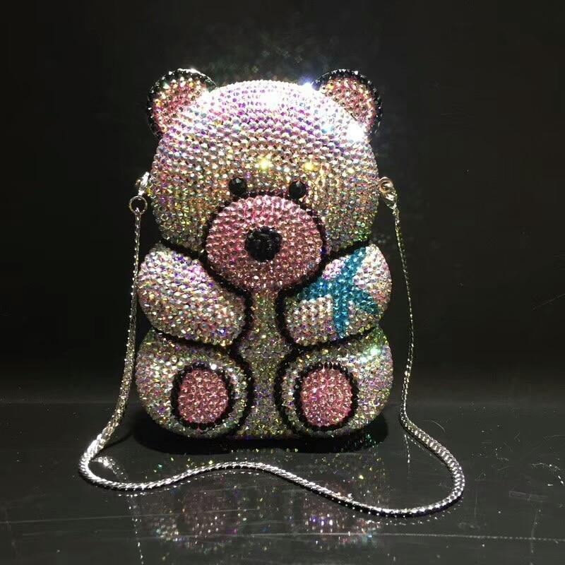 women Hollow Out Bear shape Crystal Clutch Evening Bag Wedding Party Cocktail purse wallet MInaudiere Handbag shoulder bag gifts