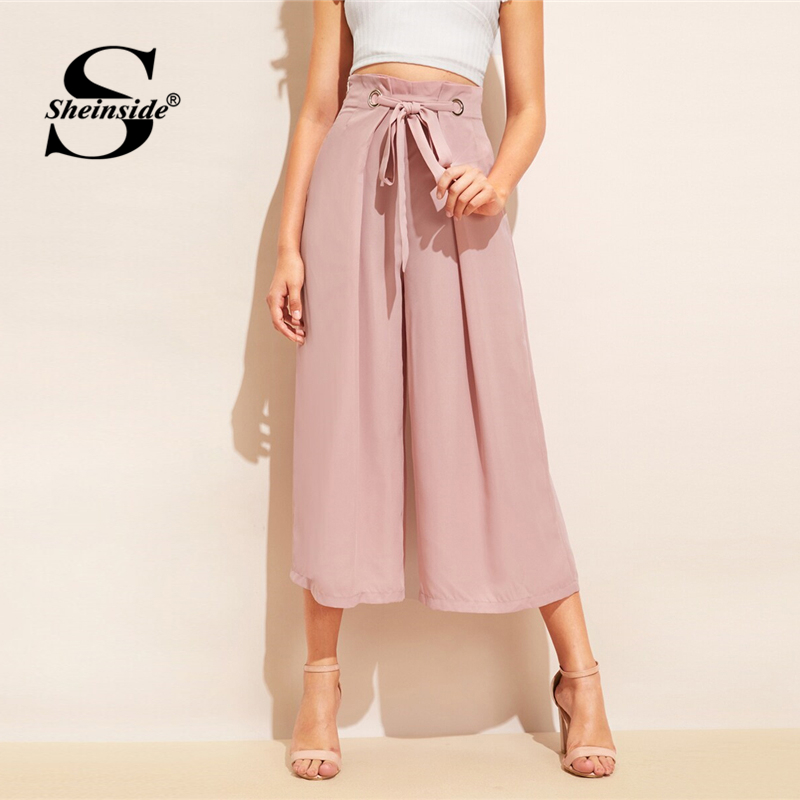 Sheinside Elegant Pink   Wide     Leg     Pants   Women 2019 Summer Mid Waist Pleated Belted Crop Trousers Ladies Casual Solid Chiffon   Pants