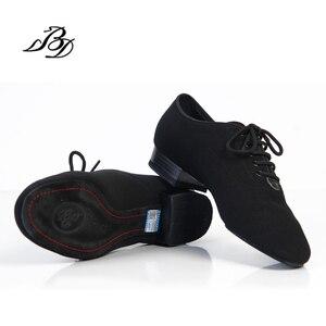 Image 3 - スニーカーbdダンスシューズ男性靴スクエアダンス社会社交ラテンシューズ309黒317現代の靴ホットオックスフォード布ヒール25ミリメートル