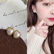 925 Silver Needle Korean Stylish Imitation Pearls Hearts Earrings Girls Love Fairy Stud Bling