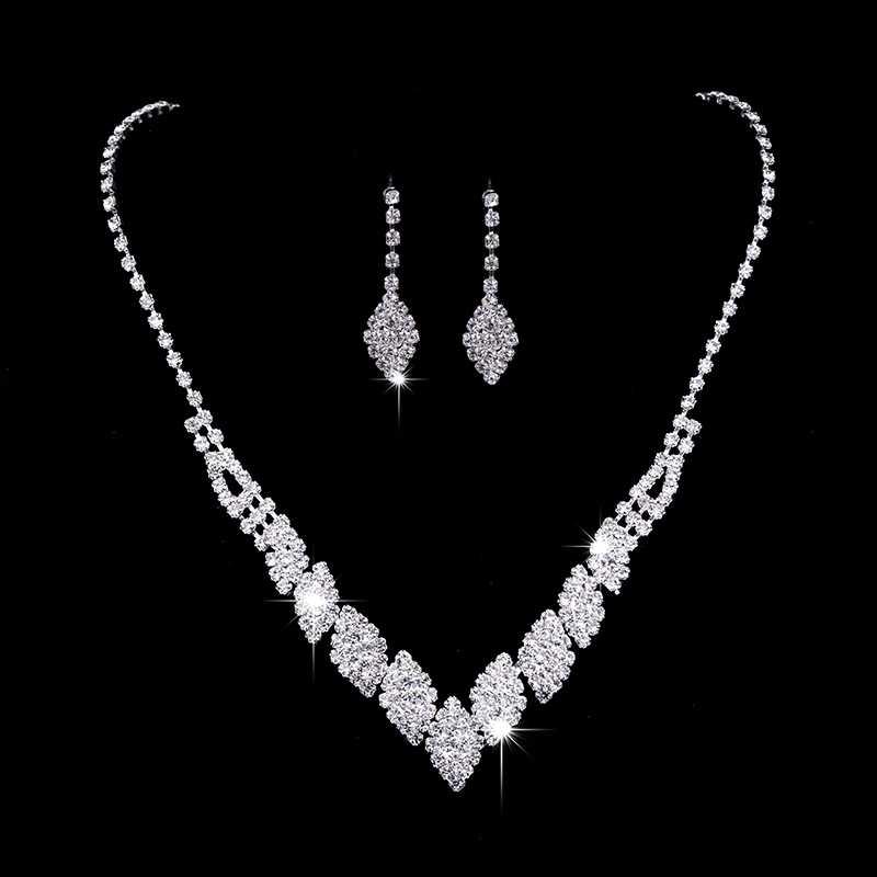 RNAFASHION תכשיטי עיצוב אלגנטי נשים חתונה כלה תכשיטי Vestidos קריסטל שרשרת עגיל למעלה איכות מתנה לכלה
