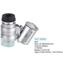 60X Мини-микроскоп Ювелирная Лупа Линза с подсветкой Лупа Стекло 3 LED с УФ-светом