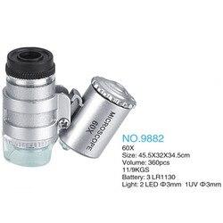 60X Mini Mikroskop Juwelier Lupe Objektiv Beleuchtet Lupe Glas 3 LED Mit UV-Licht