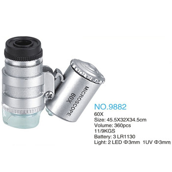 60X Mini mikroskop jubiler lupa lupa podświetlana lupa szklana 3 LED z światło ultrafioletowe tanie i dobre opinie Inpelanyu Handheld P1463 Led light Szkło 35 x 27 x 20 mm Mini Microscope 3 LEDs