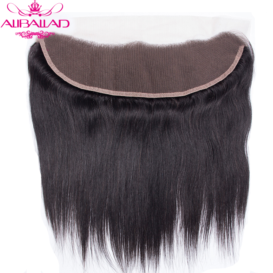 ALIBALLAD Hair Products Brazilian Straight Lace Frontal Closure Pre Plucked Remy Human Hair 13x4 Ear To Ear Closure Medium Ratio
