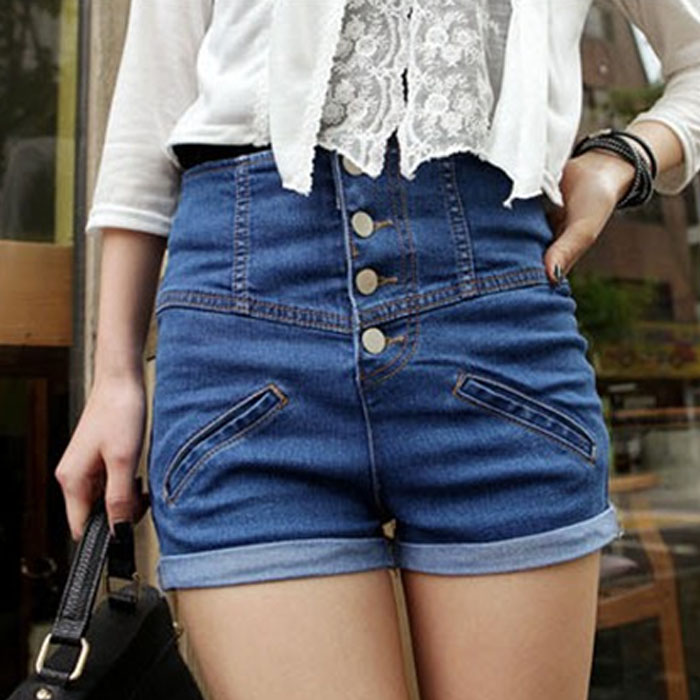 Causal and Good cloth collocation  Womens Girl Denim High Waist Ladys Shorts Jeans Pants Vintage Cuffed New 2016
