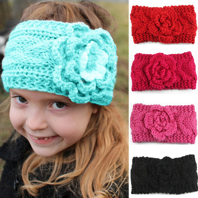 New Kids Cute Knitted Flower Headbands Baby Girls Camellia Winter