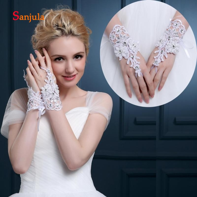 Weddings & Events Pearls Beaded White Bridal Lace Wrist Gloves Fingerless Rings Back Lace Up Wedding Gloves Robe Mariage Femme Blanche G36