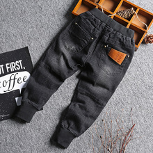 deed7ba92 Baby Boy Denim Jeans Pants Spring Fall Children's Denim Trousers Kids Black  Designed Pants Solid Toddler Leggings 2-8 Years