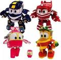 Hot 4pcs/lot robot trains toys Train Family deformation transformation robot car toys for children gifts