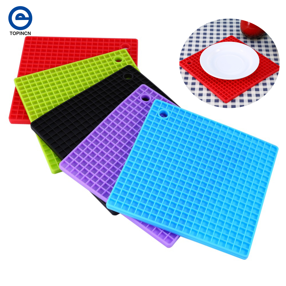 Silicone Placemats For Table Heat Resistant Mat Nonslip Square Cup Coaster  Placemat For Kitchen