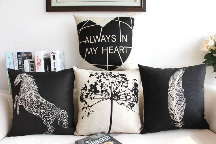Divano Nero Cuscini : Cavallo nero cuore piuma home decor cuscino in cotone e lino