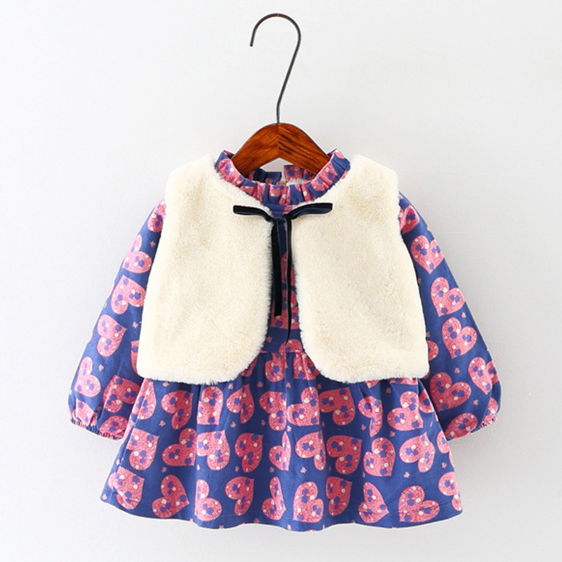 2017 Kids Clothes Sets Warm Cotton Vest Coat+Dress Baby Girl Clothing Print Heart Long Sleeve Infant Children Winter Dresses матрас в коляску esspero baby cotton lux heart 5122621