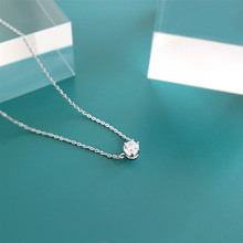 Flyleaf 925 Sterling Silver Necklace Women Cubic Zirconia Fashion Chain Fine Jewelry Simple Temperament Necklaces & Pendants