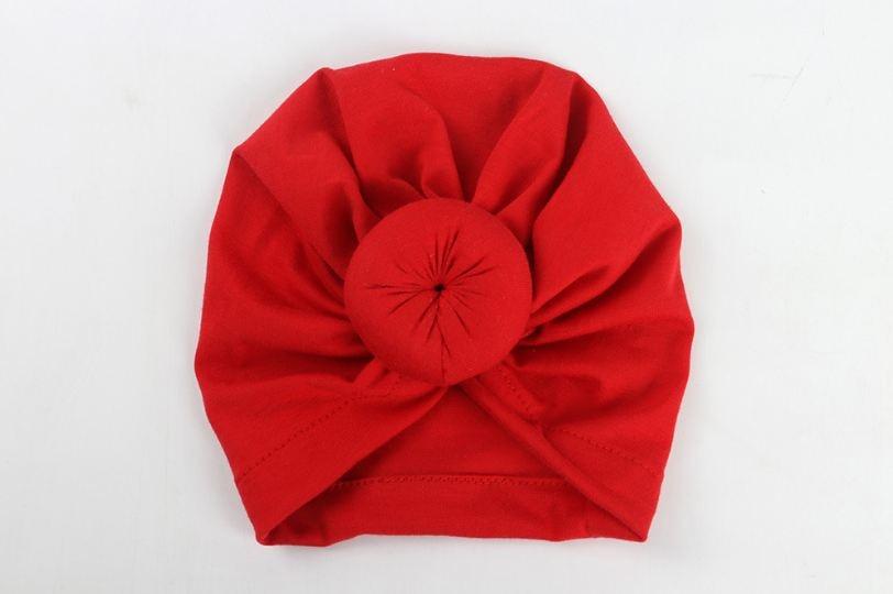 Коллекция года, Детские аксессуары для новорожденных, малышей, детей, малышей, маленьких мальчиков и девочек, тюрбан, хлопковая шапка, зимняя теплая мягкая шапка, одноцветные, с узелком, мягкая шапка - Цвет: Красный