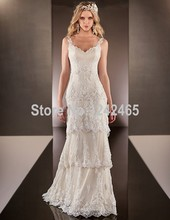 Boho Wedding Dress 2015 V-neck Vintage Rromantic Crystal Beaded Lace Bride Dress Ivory Vestido De Novia Praia AS182