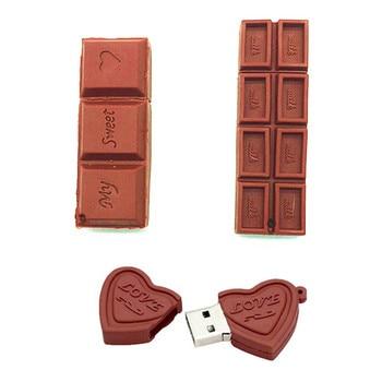 Flash USB Drive Cartoon Love Sweet Chocolate Flash Drive 4GB 8GB 16GB 32GB 64GB USB 2.0 Flash Memory Stick Flash Drive Pendrive