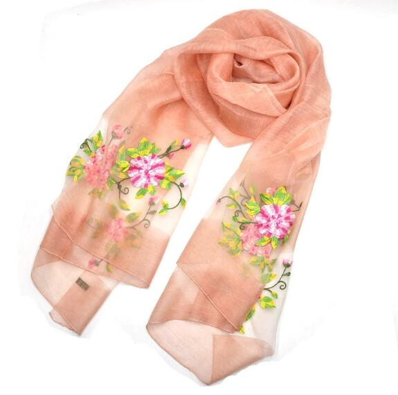 organza floral embroidery silk long scarf high quality