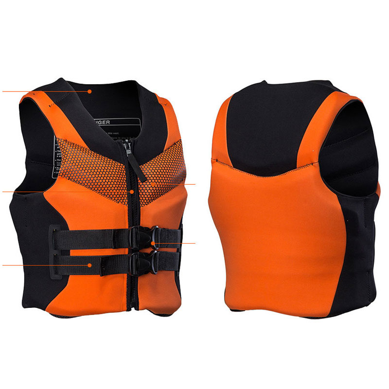 Adult Swimming Life Vest Neoprene Life Jacket Surfing, Boating, Drifting, Water sports Men's Women's Youth S to 4XL Orange