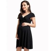 2018 Summer New Short sleeved Pregnant Women Evening Dress Black Crossing Collar Nursing Maternity Dress Pregnancy Clothes