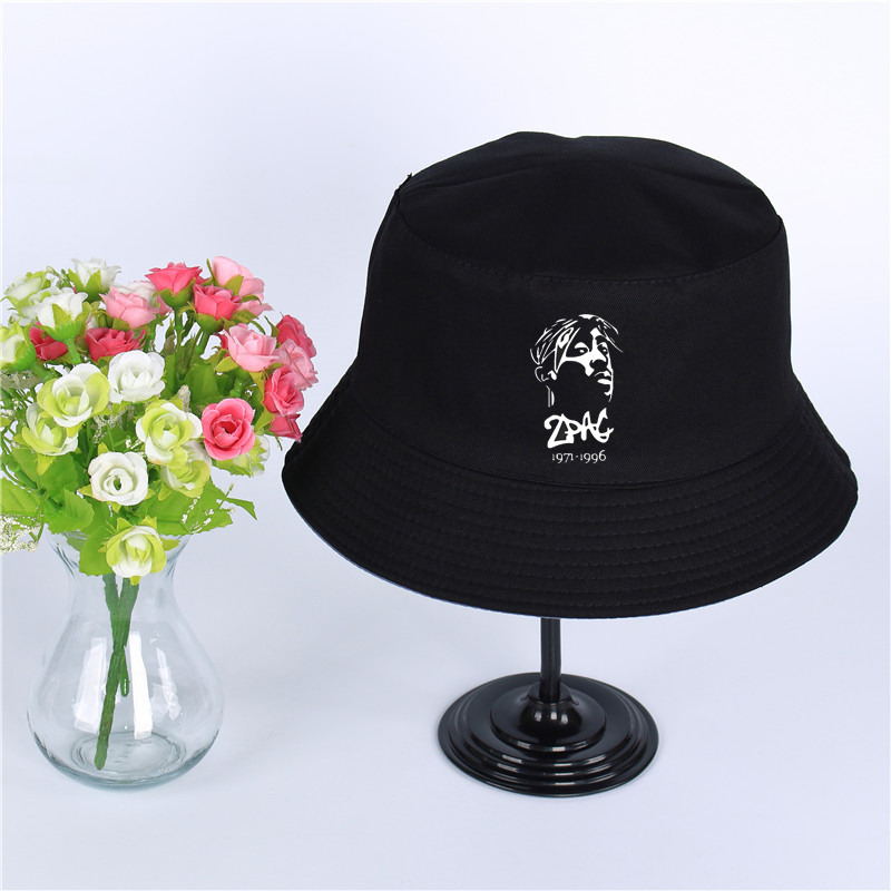 Thug Life Tupac 2pac Summer Hat Women Men's Panama Bucket Cap 2pac Of The Design Flat Visor Fisherman Hat Wide-brimmed Hat Activating Blood Circulation And Strengthening Sinews And Bones