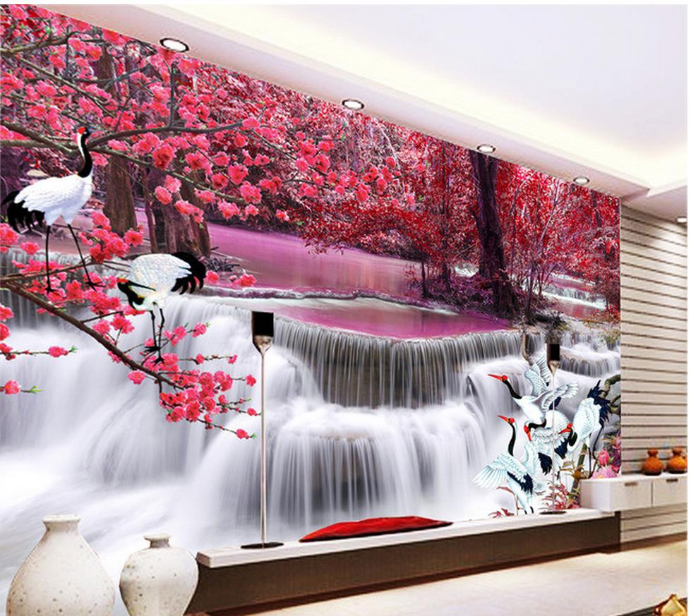 popular customized wall murals buy cheap customized wall murals 3d room wallpaper waterfall crane tv backdrop custom 3d photo wallpaper home decoration custom wall mural