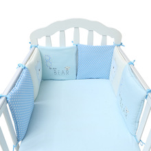 6pcs Baby Crib Bumper cartoon Soft Breathable Cotton Bed Protector For Kids Crotch To The Cot infant Bedding Set For Children