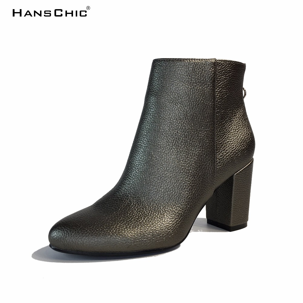 HANSCHIC 2017 New Arrival Korea Green Leather Retro Minimumism Ladies Casual Womens Boots Shoes with Zipper for Female 1281