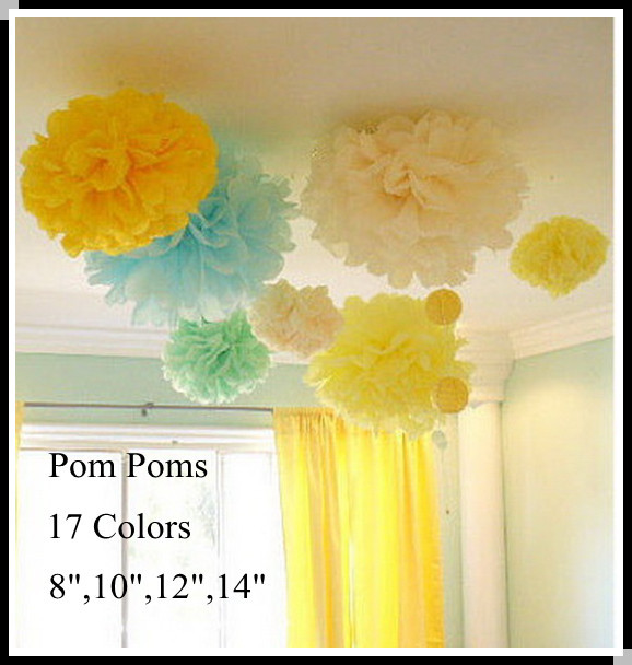 "DIY 12"" (30 CM) Decorative Tissue Craft Paper Pom Poms"