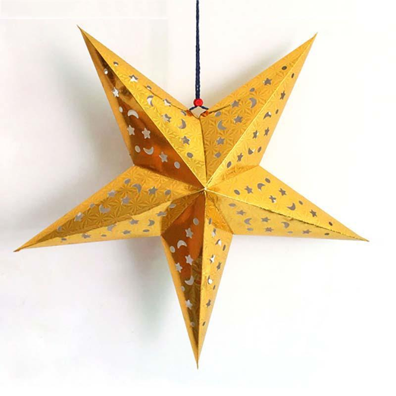 90cm Sided laser Christmas pointed dimensional paper Five Three star bar Ceiling Colorfu ...