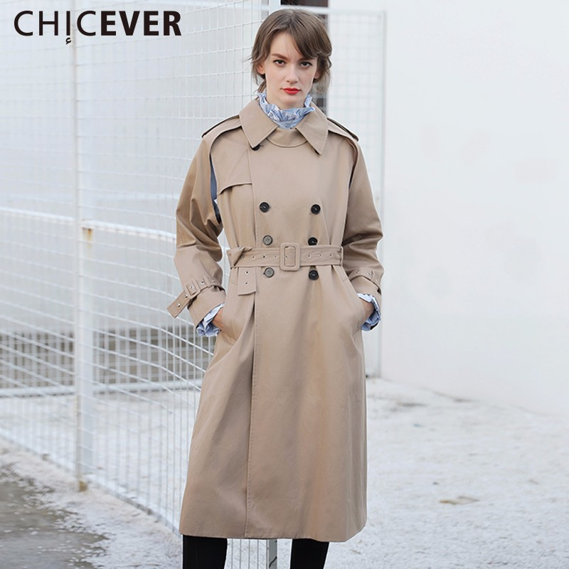 CHICEVER High Waist Trench Coat Female Womens Windbreaker With Belt Loose Big Size Autumn Basic Coats Clothes Fashion 2017