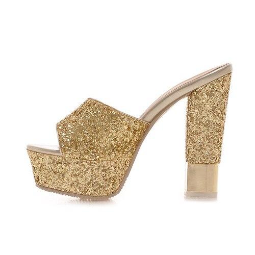 Glitter Bling Bling Sexy Female Block High Heel Platform Slides Summer 2017 Woman Slipper Party Wedding