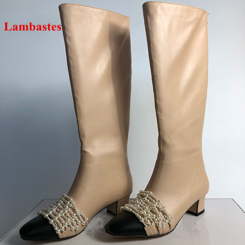Winter Knee High Boots Women 2018 Hot Sale Pearl Embellished Leather Zip Up Women Boots Square Toe Low Heel Long Bottes Femme цена 2017