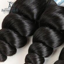 Amanda Hair Loose Wave Brazilian Hair 3 Bundles Human Hair Weave Extensions 10″-30″ Brazilian Virgin Hair for Salon