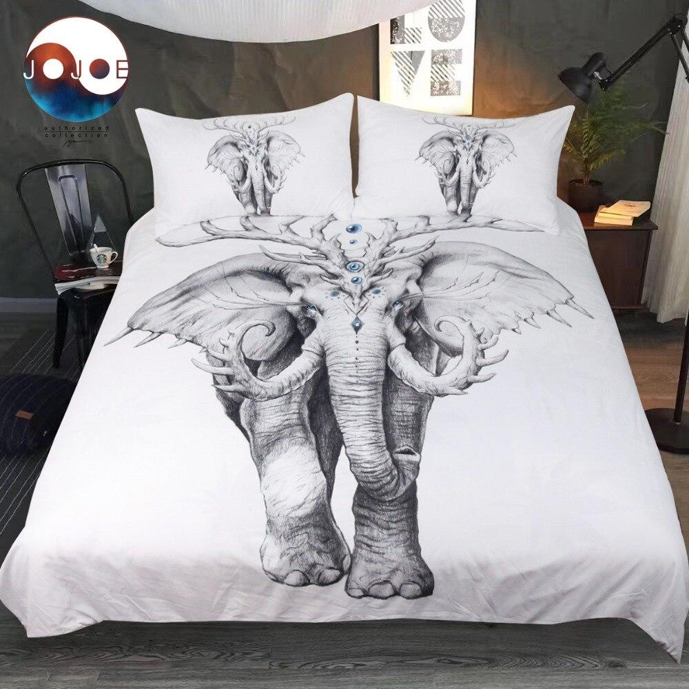 Éléphant Âme par JoJoesArt Literie Ensemble Indien Housse de Couette 3D Imprimé Lit Ensemble 3 pcs Animal Noir et Blanc Linge de Lit pour Adultes