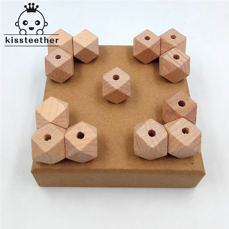 50pcs Beech Wood Bead Unfinished Natural 14mm Geometric Hexagonal Wooden Beads For DIY Baby Teether Nacklace