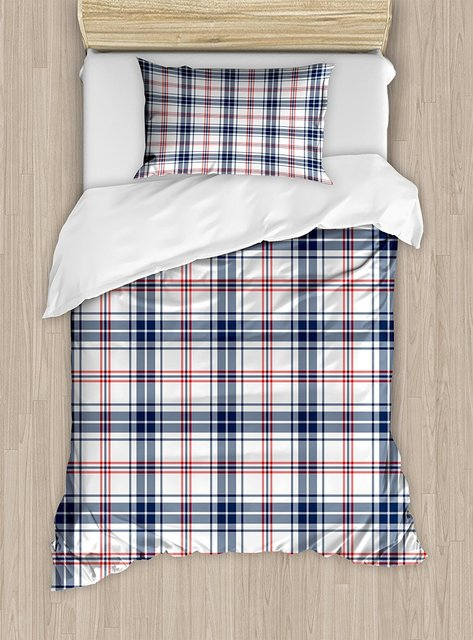 Plaid Duvet Cover Set Traditional Checkered British Country Pattern