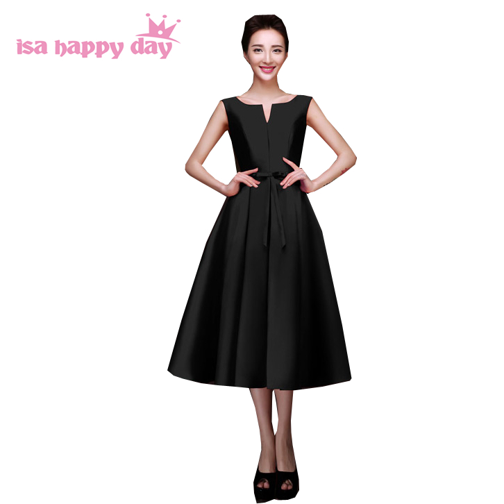 Women's Cocktail And Party Royal Blue Dresses Tea Length Black Red Satin Elegant Sexy Pretty Dress 2019 New Arrival H2643