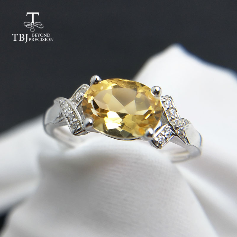 TBJ,100% 925 sterling silver with natural citrine for women,female rings,original fine jewelryTBJ,100% 925 sterling silver with natural citrine for women,female rings,original fine jewelry