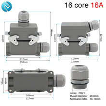 Heavy duty connector hdc-he-016 rectangular 16 core high base aviation plug socket waterproof 16A стоимость
