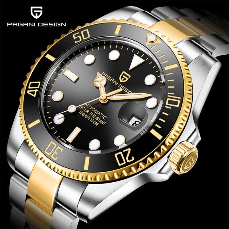 Pagani2019 design da marca de luxo relógios masculinos relógio preto automático aço inoxidável à prova dwaterproof água negócios esporte mecânico