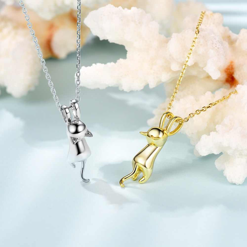 U7 100% 925 Sterling Perak Minimalis Kucing/Kitten Liontin & Rantai Hadiah Hari Ibu untuk Wanita Perhiasan Binatang kalung SC36